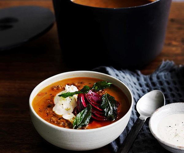 """[Persian red lentil soup with tahini, beetroot and fried mint](https://www.gourmettraveller.com.au/recipes/browse-all/persian-red-lentil-soup-with-tahini-beetroot-and-fried-mint-12513
