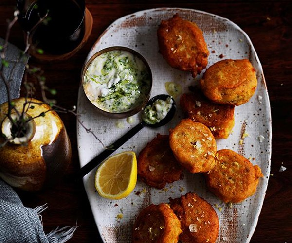 """[Red lentil fritters with green yoghurt](https://www.gourmettraveller.com.au/recipes/browse-all/red-lentil-fritters-with-green-yoghurt-12514