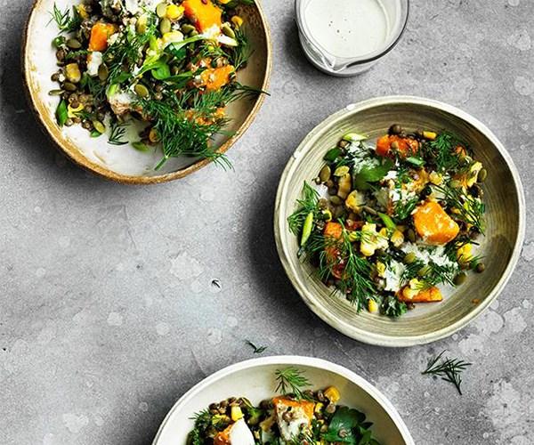 "[Caramelised pumpkin, corn and lentil bowl](https://www.gourmettraveller.com.au/recipes/browse-all/caramelised-pumpkin-corn-and-lentil-bowl-12725|target=""_blank"")"