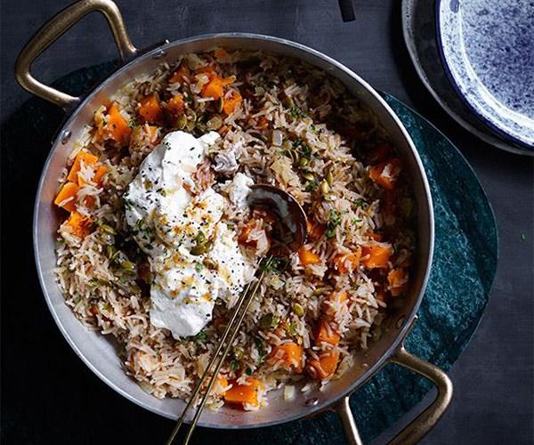"[Pumpkin pilaf with ricotta and pepitas](https://www.gourmettraveller.com.au/recipes/fast-recipes/pumpkin-pilaf-with-ricotta-and-pepitas-13804|target=""_blank"")"
