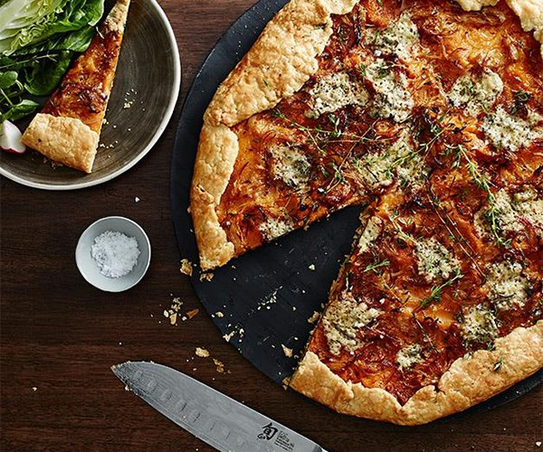 """[Fred's Pumpkin galette with blue cheese and thyme](https://www.gourmettraveller.com.au/recipes/chefs-recipes/freds-pumpkin-galette-with-blue-cheese-and-thyme-9312