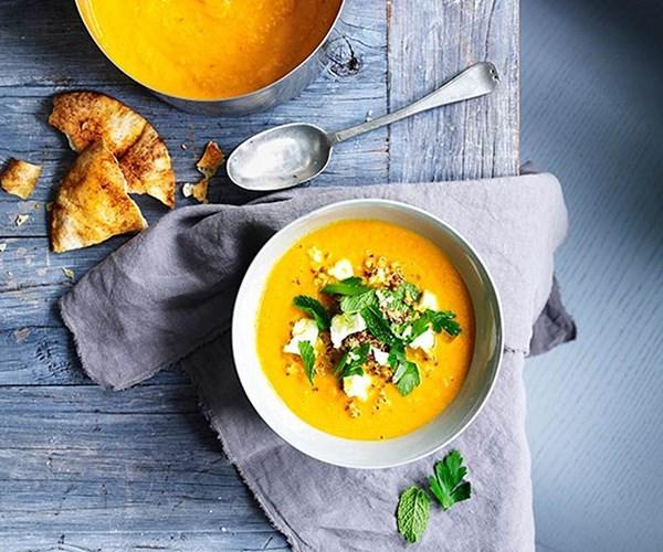 "[Carrot soup with feta and quinoa](https://www.gourmettraveller.com.au/recipes/fast-recipes/carrot-soup-with-feta-and-quinoa-13377|target=""_blank"")"