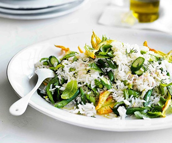 """[Rice salad with zucchini flowers, peas, beans and mint](https://www.gourmettraveller.com.au/recipes/browse-all/rice-salad-with-zucchini-flowers-peas-beans-and-mint-11606