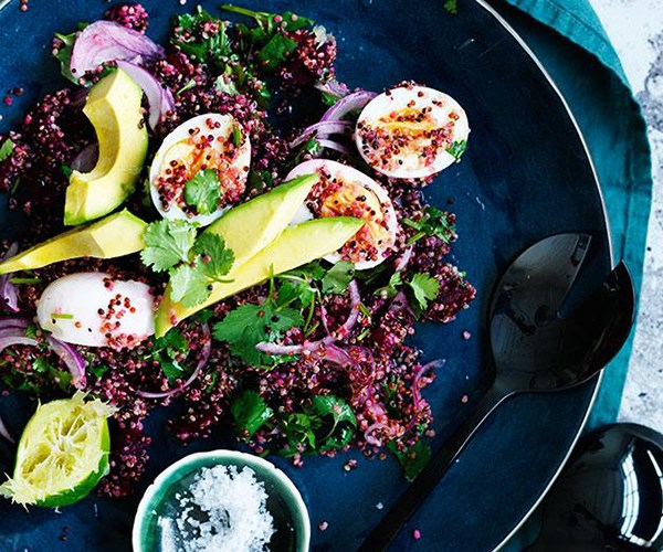 """[Smashed beetroot, quinoa, egg and avocado salad](https://www.gourmettraveller.com.au/recipes/fast-recipes/smashed-beetroot-quinoa-egg-and-avocado-salad-13739