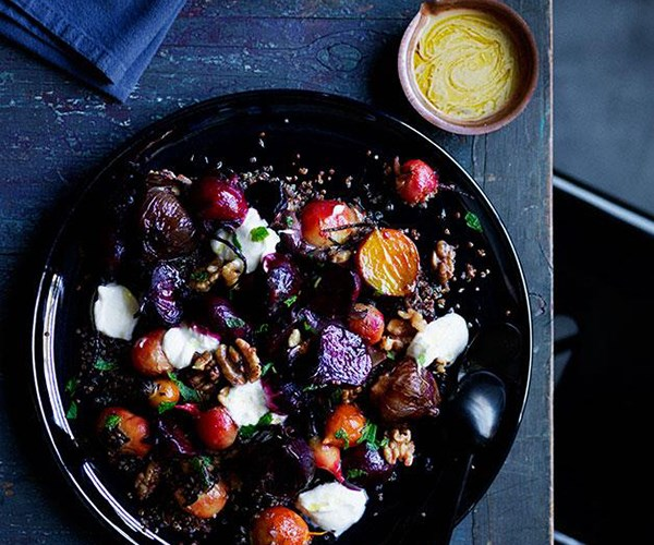 """[Roasted beets and onions with yoghurt, quinoa and walnuts](https://www.gourmettraveller.com.au/recipes/browse-all/roasted-beets-and-onions-with-yoghurt-quinoa-and-walnuts-12241