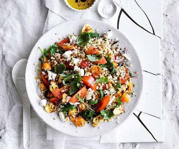"[Tomato, ricotta and fregola salad](https://www.gourmettraveller.com.au/recipes/browse-all/tomato-ricotta-and-fregola-salad-12897|target=""_blank"")"