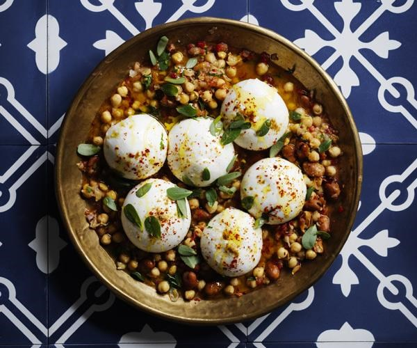 """[Burrata with broad bean and chickpea stew](https://www.gourmettraveller.com.au/recipes/browse-all/burrata-with-broad-bean-and-chickpea-stew-16263