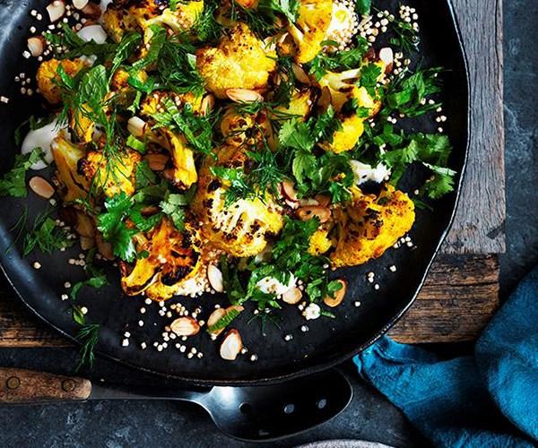 "[Roasted cauliflower salad with yoghurt dressing and almonds](https://www.gourmettraveller.com.au/recipes/browse-all/roasted-cauliflower-salad-with-yoghurt-dressing-and-almonds-12690|target=""_blank"")"