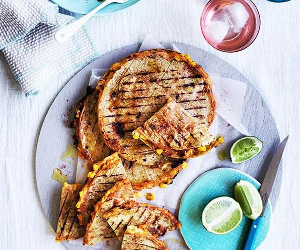 "[Corn and potato quesadillas with green salsa](https://www.gourmettraveller.com.au/recipes/fast-recipes/corn-and-potato-quesadillas-with-green-salsa-13875|target=""_blank"")"