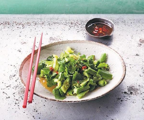 "[Smashed cucumber salad](https://www.gourmettraveller.com.au/recipes/chefs-recipes/smashed-cucumber-salad-15638|target=""_blank"")"