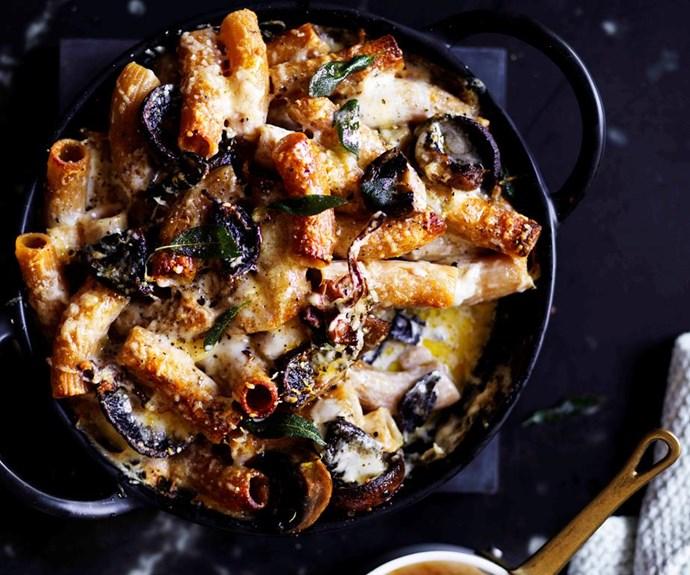 "[Mushroom and Fontina rigatoni](https://www.gourmettraveller.com.au/recipes/browse-all/mushroom-and-fontina-rigatoni-12849|target=""_blank"")"