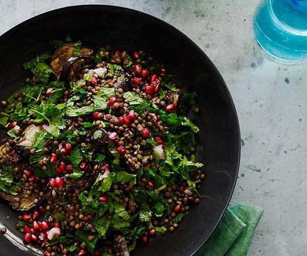 "[Grilled eggplant salad with lentils and sesame yoghurt](https://www.gourmettraveller.com.au/recipes/browse-all/grilled-eggplant-salad-with-lentils-and-sesame-yoghurt-12184|target=""_blank"")"