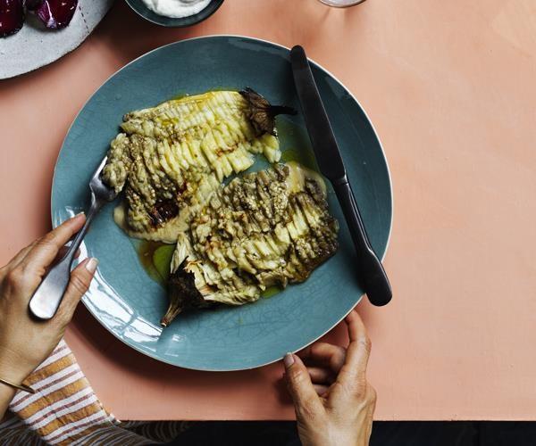 "[Eggplant lines](https://www.gourmettraveller.com.au/recipes/chefs-recipes/eggplant-lines-16241|target=""_blank"")"