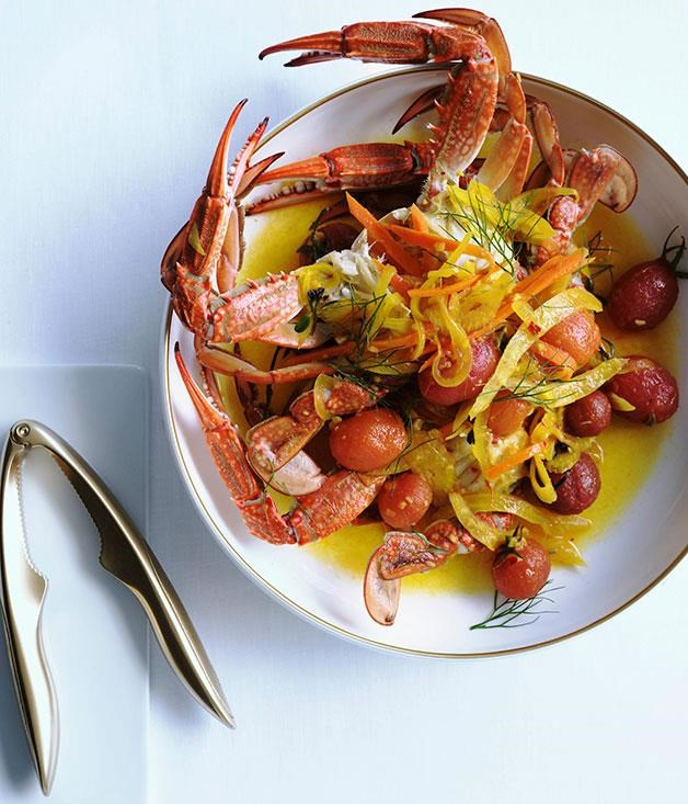 """**[Blue swimmer crab with salsa pazza](https://www.gourmettraveller.com.au/recipes/browse-all/blue-swimmer-crab-with-salsa-pazza-10270