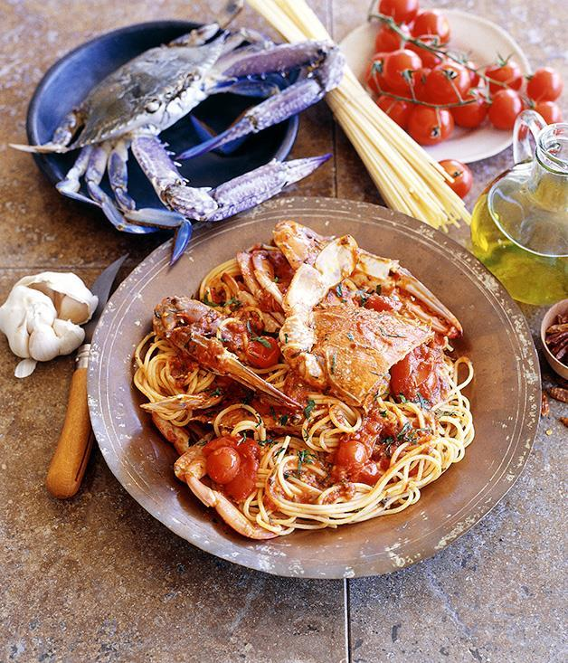 "**[Spaghetti and crab](https://www.gourmettraveller.com.au/recipes/fast-recipes/spaghetti-and-crab-9449|target=""_blank"")**"