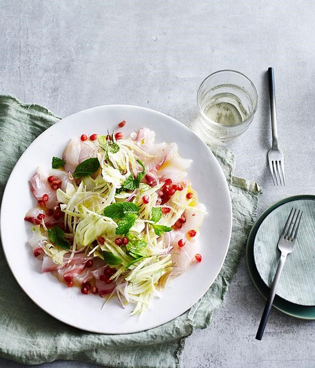 """[**Pink snapper crudo with fennel, pomegranate and mint**](https://www.gourmettraveller.com.au/recipes/fast-recipes/pink-snapper-crudo-with-fennel-pomegranate-and-mint-13572