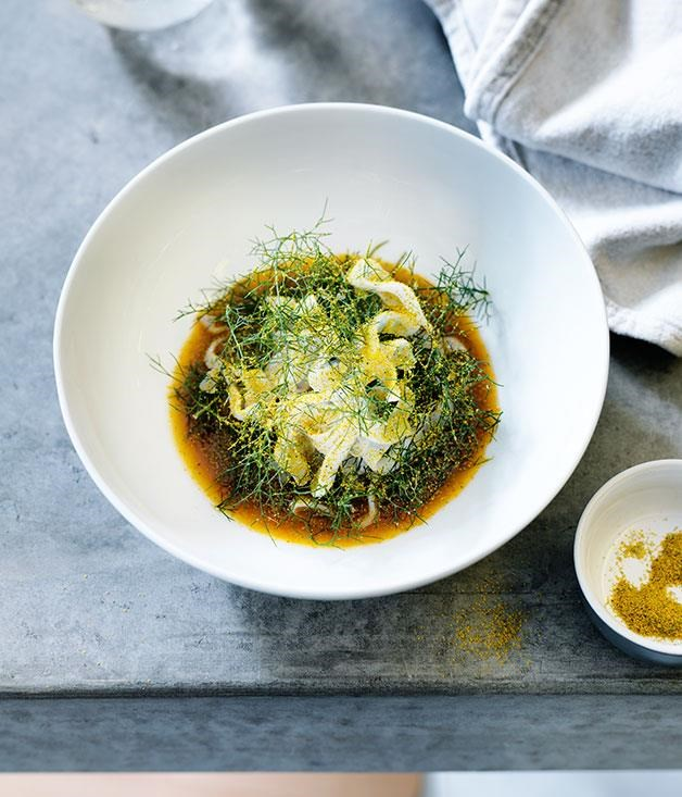 """**[Southern calamari and fennel salad in crab sauce](https://www.gourmettraveller.com.au/recipes/chefs-recipes/southern-calamari-and-fennel-salad-in-crab-sauce-8251