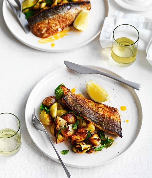 """**[Harissa-grilled mackerel with potatoes, zucchini and mint](https://www.gourmettraveller.com.au/recipes/fast-recipes/harissa-grilled-mackerel-with-potatoes-zucchini-and-mint-13232