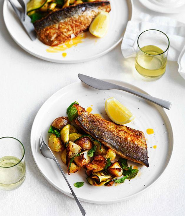 "**[Harissa-grilled mackerel with potatoes, zucchini and mint](https://www.gourmettraveller.com.au/recipes/fast-recipes/harissa-grilled-mackerel-with-potatoes-zucchini-and-mint-13232|target=""_blank"")**"