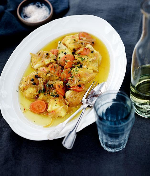 "**[Escabeche of Murray cod with saffron and currants](https://www.gourmettraveller.com.au/recipes/chefs-recipes/escabeche-of-murray-cod-with-saffron-and-currants-8054|target=""_blank"")**"