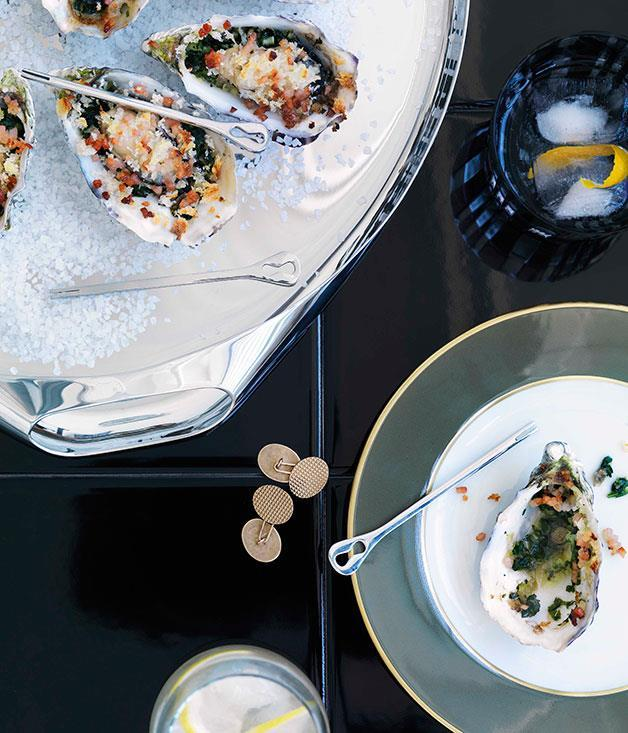 "**[Oysters Rockefeller](https://www.gourmettraveller.com.au/recipes/browse-all/oysters-rockefeller-10344|target=""_blank"")**"