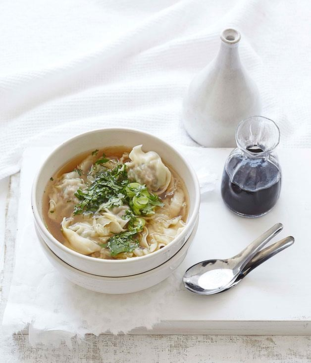 "[**Pork wonton soup**](https://www.gourmettraveller.com.au/recipes/fast-recipes/pork-wonton-soup-13356|target=""_blank"")"