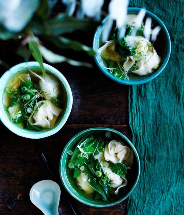 """[Kylie Kwong's Cantonese-style prawn and wonton soup](https://www.gourmettraveller.com.au/recipes/chefs-recipes/cantonese-style-prawn-wonton-soup-8612