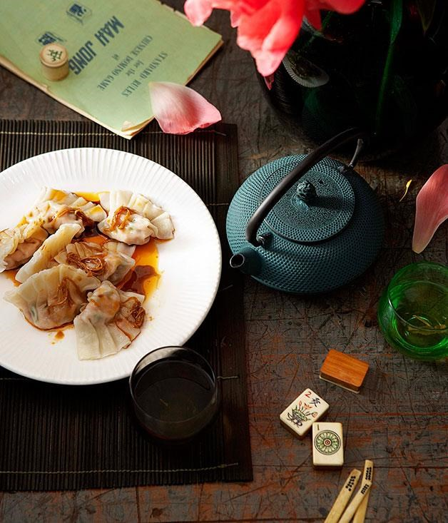 "[**Poached pork and garlic chive dumplings**](https://www.gourmettraveller.com.au/recipes/chefs-recipes/poached-pork-and-garlic-chive-dumplings-jiu-cai-jiaozi-7335|target=""_blank"")"