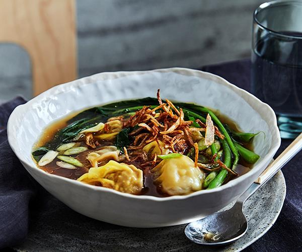 "[Shobosho's chicken and prawn wontons, chicken dashi and Chinese broccoli](https://www.gourmettraveller.com.au/recipes/chefs-recipes/shoboshos-chicken-and-prawn-wontons-chicken-dashi-and-chinese-broccoli-9325|target=""_blank"")"