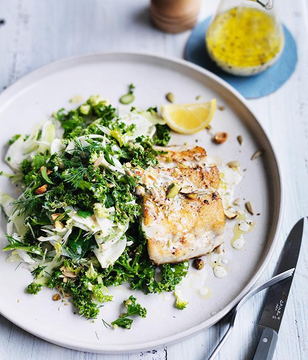 "**[Roast barramundi with kale, fennel and broccoli slaw](https://www.gourmettraveller.com.au/recipes/fast-recipes/roast-barramundi-with-kale-fennel-and-broccoli-slaw-13787|target=""_blank"")**"