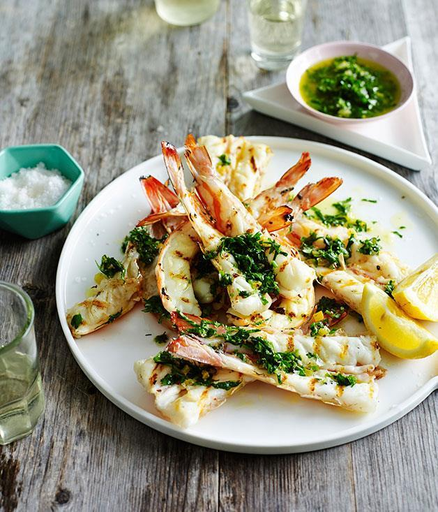 "**[Chermoula prawns](https://www.gourmettraveller.com.au/recipes/browse-all/chermoula-prawns-13986|target=""_blank"")**"