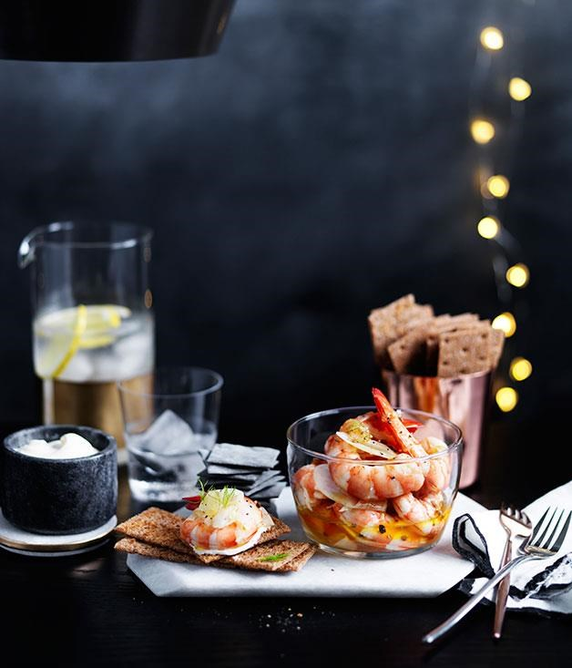 """**[Pickled prawns and fennel with rye crackers](https://www.gourmettraveller.com.au/recipes/browse-all/pickled-prawns-and-fennel-with-rye-crackers-12389