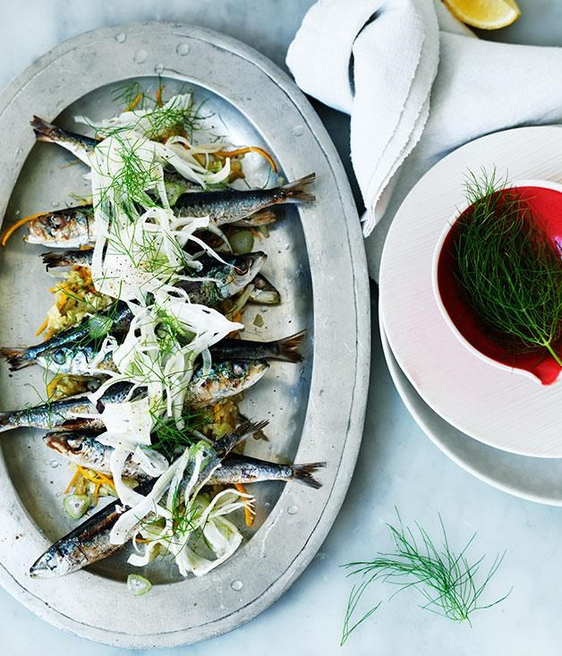 """**[Sardines with fennel and orange](https://www.gourmettraveller.com.au/recipes/browse-all/sardines-with-fennel-and-orange-11781