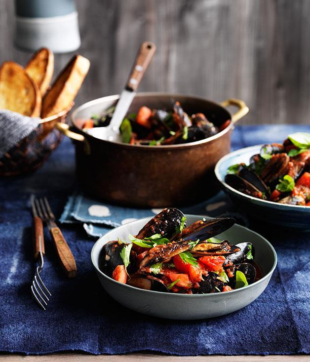 "**[Mussels with chilli, garlic and white wine](https://www.gourmettraveller.com.au/recipes/chefs-recipes/mussels-with-chilli-garlic-and-white-wine-9229|target=""_blank"")**"