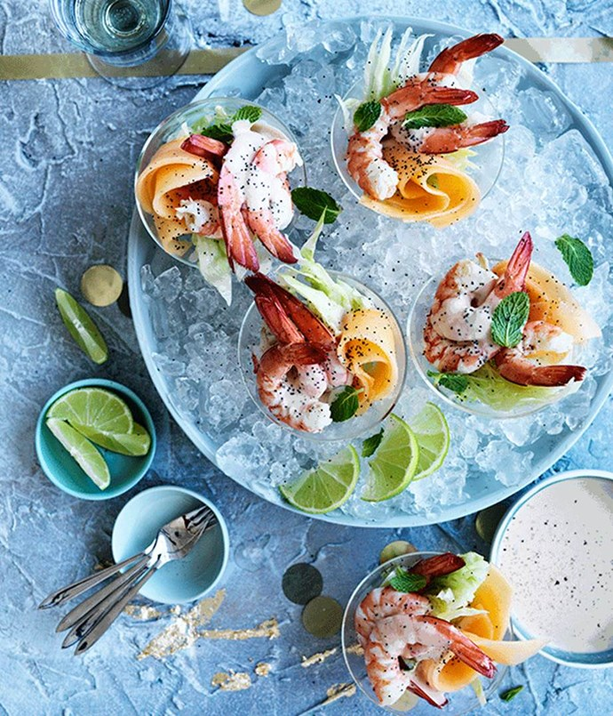 """[Rockmelon, lime and poppy-seed prawn cocktails](https://www.gourmettraveller.com.au/recipes/browse-all/rockmelon-lime-and-poppy-seed-prawn-cocktails-12651