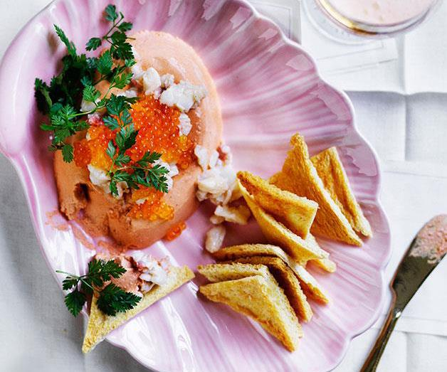 "[**Lobster mousse**](https://www.gourmettraveller.com.au/recipes/browse-all/lobster-mousse-12663|target=""_blank"")"