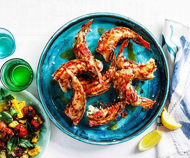 "[**Grilled lobster tails with roast chilli butter and corn salad**](https://www.gourmettraveller.com.au/recipes/browse-all/grilled-lobster-tails-with-roast-chilli-butter-and-corn-salad-14321|target=""_blank"")"