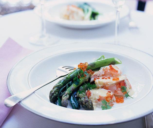 "[**Champagne-poached lobster**](https://www.gourmettraveller.com.au/recipes/browse-all/champagne-poached-lobster-with-asparagus-and-baby-leeks-9867|target=""_blank"")"