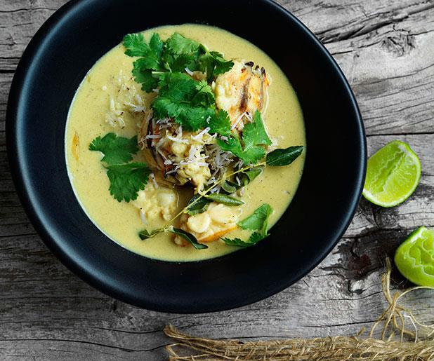 "[**Lobster in coconut broth with Indian aromatics**](https://www.gourmettraveller.com.au/recipes/browse-all/lobster-in-coconut-broth-with-indian-aromatics-11110|target=""_blank"")"