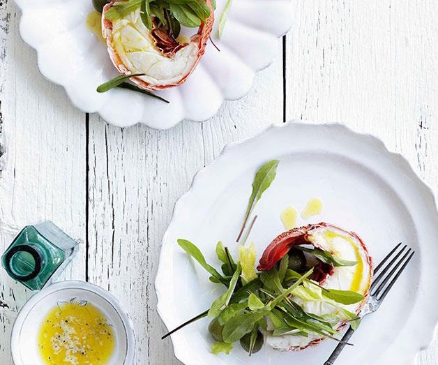 "[**Lobster halves with lemon butter and dandelion leaf salad**](https://www.gourmettraveller.com.au/recipes/browse-all/lobster-halves-with-lemon-butter-and-dandelion-leaf-salad-10300|target=""_blank"")"