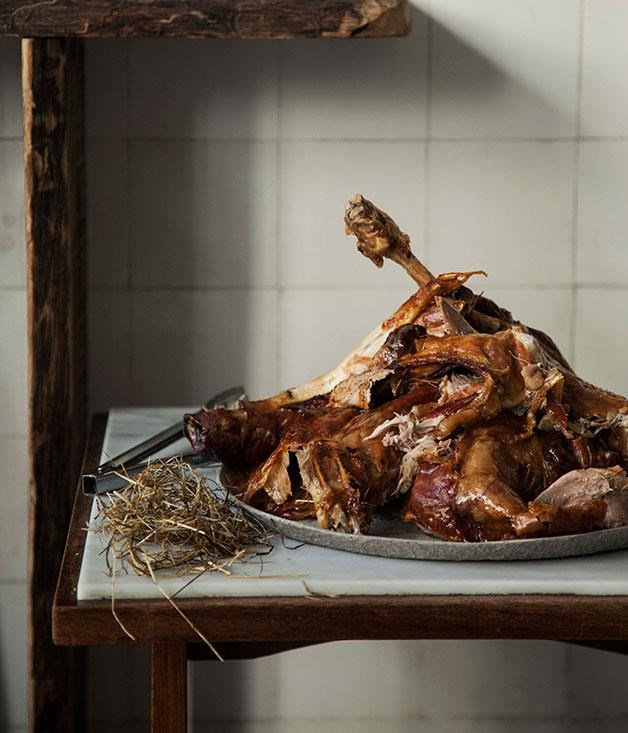 """[Slow-roasted lamb with citrus and herbs](https://www.gourmettraveller.com.au/recipes/chefs-recipes/slow-roasted-lamb-with-citrus-and-herbs-7836 target=""""_blank"""")"""