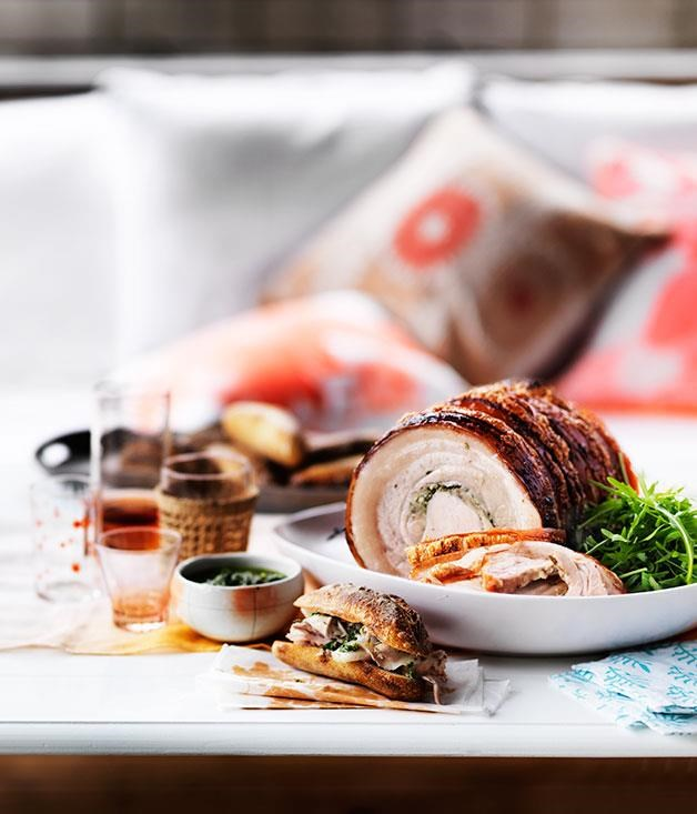 """[Spit-roasted porchetta with salsa verde](https://www.gourmettraveller.com.au/recipes/browse-all/spit-roasted-porchetta-with-salsa-verde-12149 target=""""_blank"""")"""