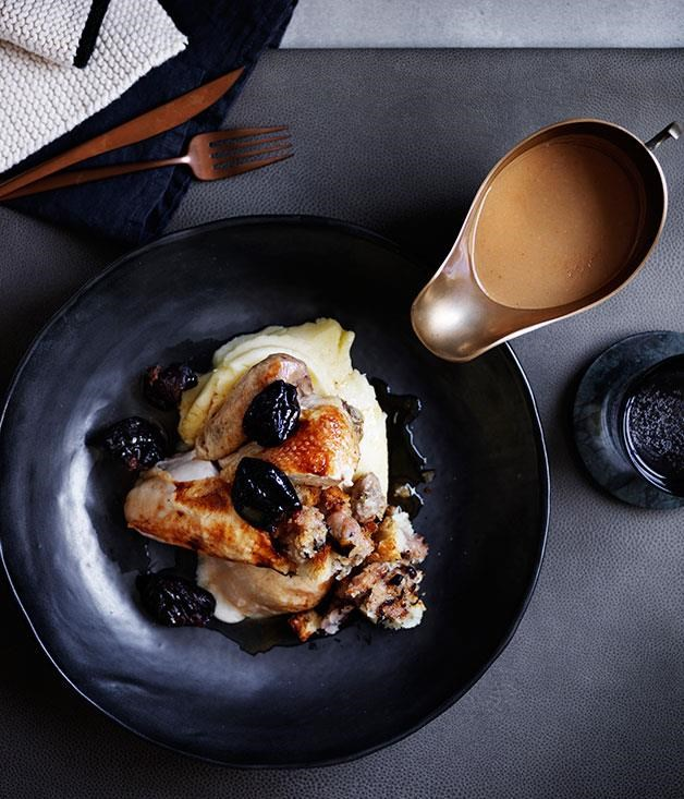 "[Roast chicken with sausage stuffing, prunes and pan gravy](https://www.gourmettraveller.com.au/recipes/browse-all/roast-chicken-with-sausage-stuffing-prunes-and-pan-gravy-12518|target=""_blank"")"