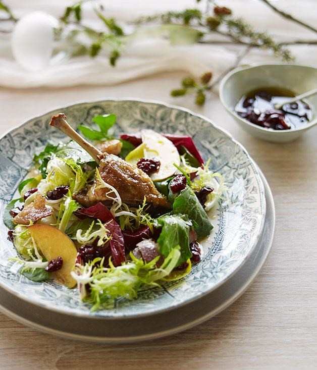 "[Confit goose, peach, bitter leaf and dried cranberry salad](https://www.gourmettraveller.com.au/recipes/chefs-recipes/confit-goose-peach-bitter-leaf-and-dried-cranberry-salad-8172|target=""_blank"")"