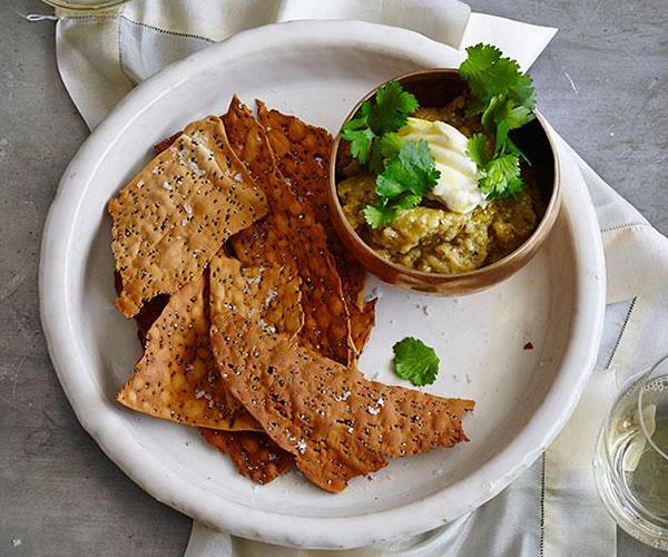 """**[Charred eggplant dip with quick quinoa crackers](https://www.gourmettraveller.com.au/recipes/fast-recipes/charred-eggplant-dip-with-quick-quinoa-crackers-13428