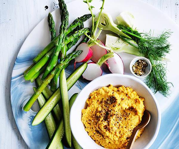 """[Carrot and almond hummus](https://www.gourmettraveller.com.au/recipes/fast-recipes/carrot-and-almond-hummus-13788