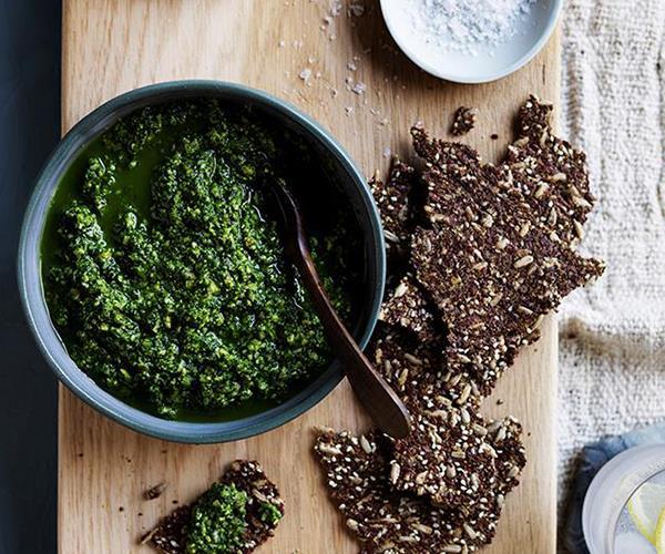 "**[Pistachio and kale dip](https://www.gourmettraveller.com.au/recipes/browse-all/pistachio-and-kale-dip-12714|target=""_blank"")**"