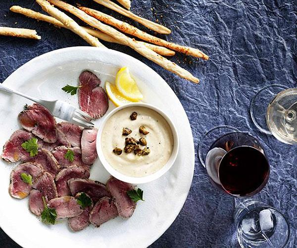 """**[Tuna dip with parmesan grissini and cured veal](https://www.gourmettraveller.com.au/recipes/browse-all/tuna-dip-with-parmesan-grissini-and-cured-veal-10859
