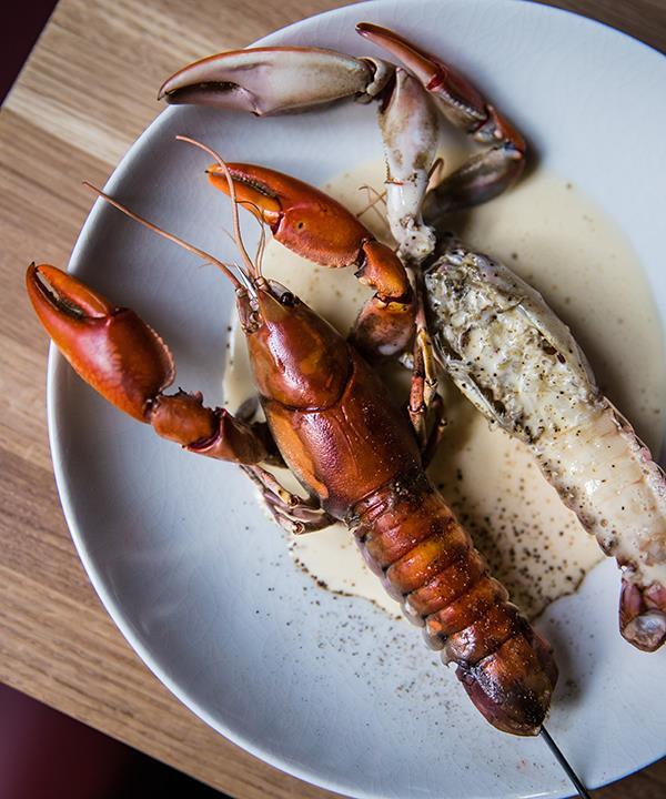 Yabby on a stick with smoked whey sauce at Poly