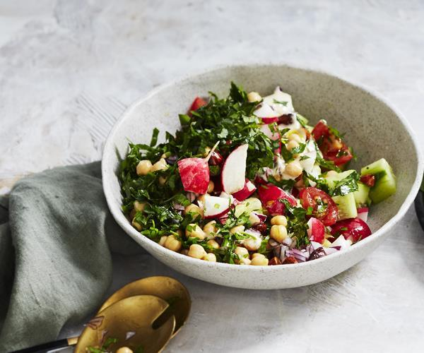 """[Chickpea salad with tahini dressing](https://www.gourmettraveller.com.au/recipes/healthy-recipes/chickpea-salad-with-tahini-dressing-16269 target=""""_blank"""")"""
